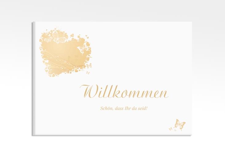 """Willkommensschild Leinwand """"Mailand"""" 70 x 50 cm Leinwand beige"""