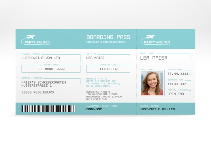 "Einladung Jugendweihe ""Ticket"" DIN lang blau"
