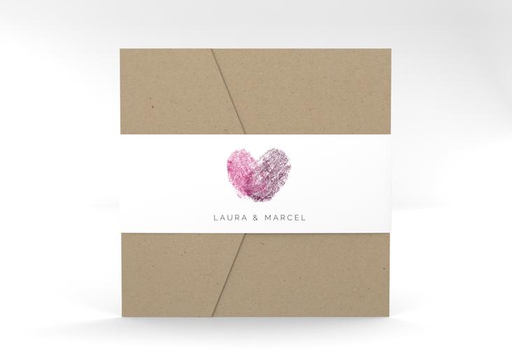 """Hochzeitseinladung """"Fingerprint"""" Pocketfold pink"""