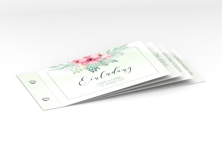 """Hochzeitseinladung """"Surfinia"""" Booklet gruen"""