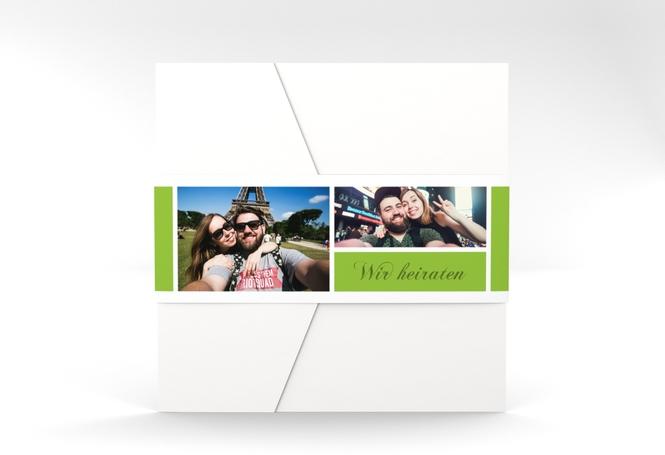 """Hochzeitseinladung """"Collage"""" Pocketfold gruen"""