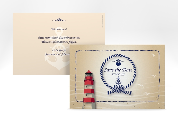 "Save the Date-Karte Hochzeit ""Sylt"" A6 quer braun"