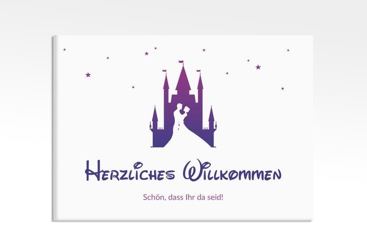 "Willkommensschild Leinwand  ""Castle"" 70 x 50 cm Leinwand lila"