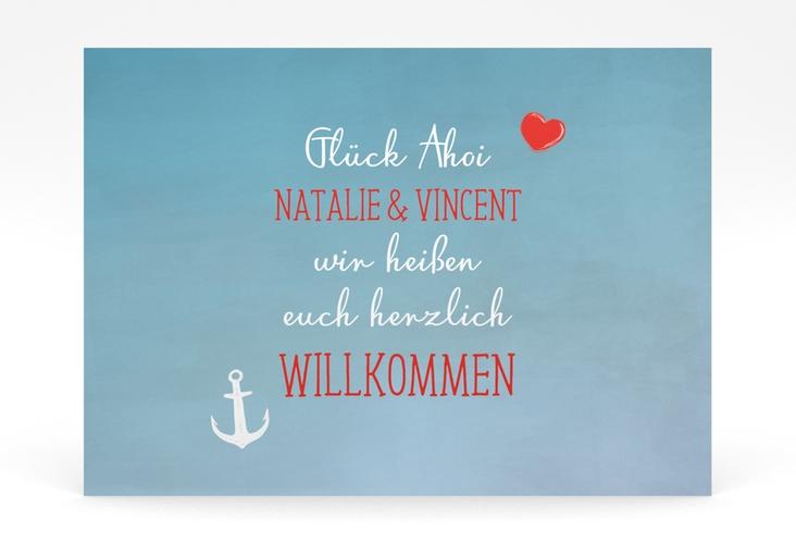 """Willkommensschild Poster """"Ehehafen"""" 70 x 50 cm Poster blau"""