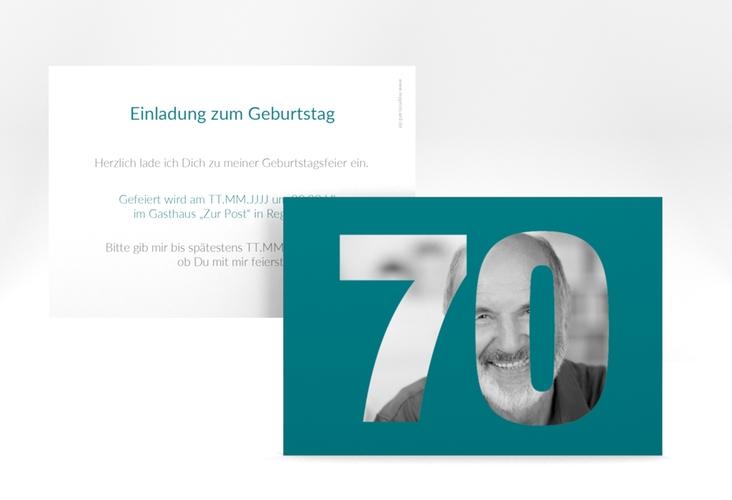 """Einladungskarte """"Numbers"""" A6 quer tuerkis"""