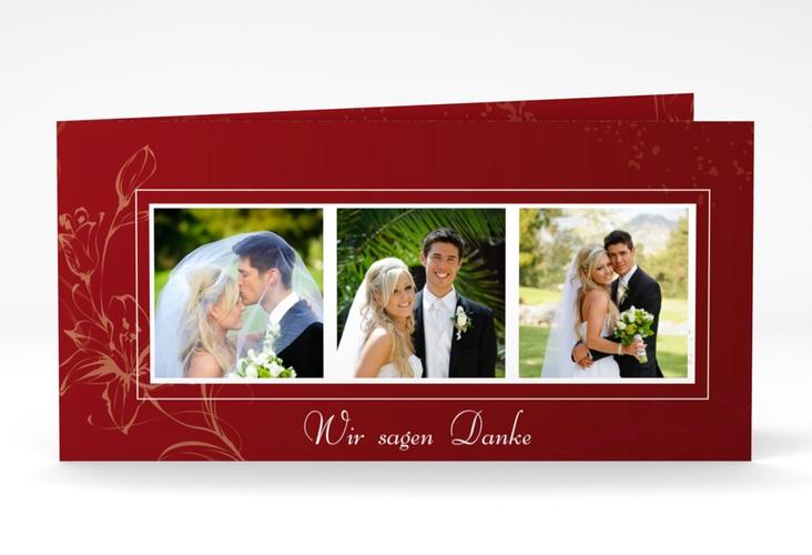"Dankeskarte Hochzeit ""Lille"" DIN lang Klappkarte rot"