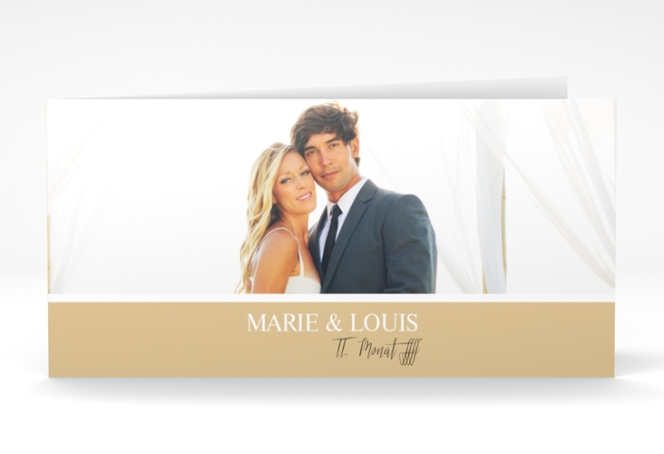 "Danksagungskarte Hochzeit  ""Balance"" DIN lang Klappkarte beige"