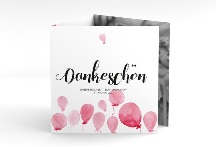 """Dankeskarte Hochzeit """"Luftkuss"""" Quadr. Karte doppelt"""