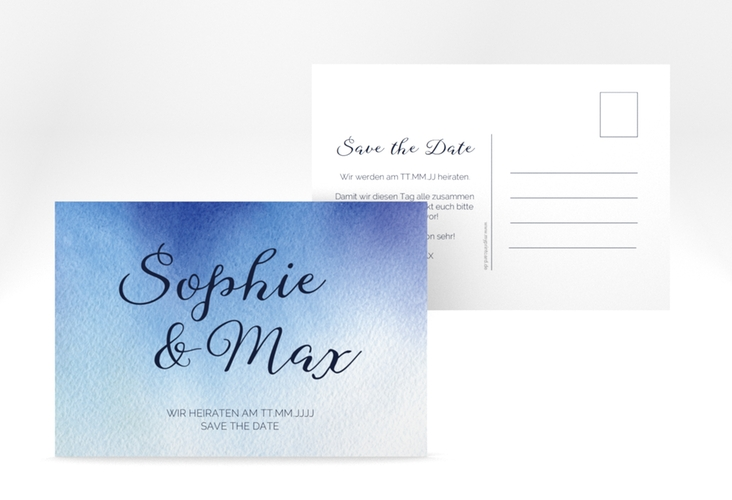 "Save the Date-Postkarte ""Ombre"" A6 Postkarte blau"