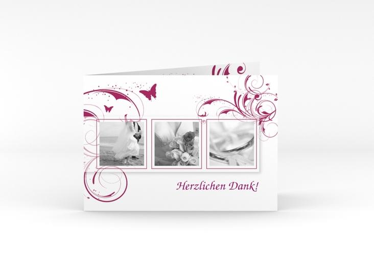 "Dankeskarte Hochzeit ""Palma"" A6 Klappkarte Quer pink"