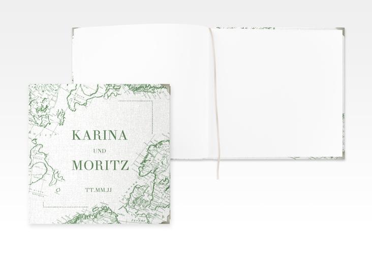 """Gästebuch Selection Hochzeit """"Voyage"""" Leinen-Hardcover gruen"""