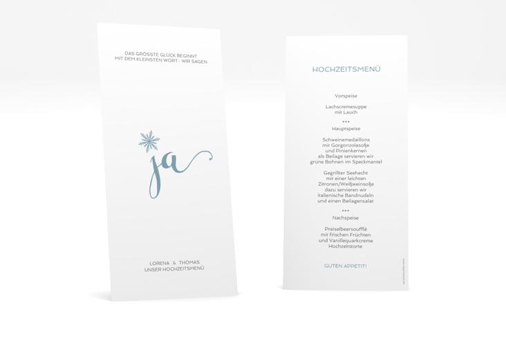 """Menükarte Hochzeit """"Snowflake"""" DIN lang hoch"""