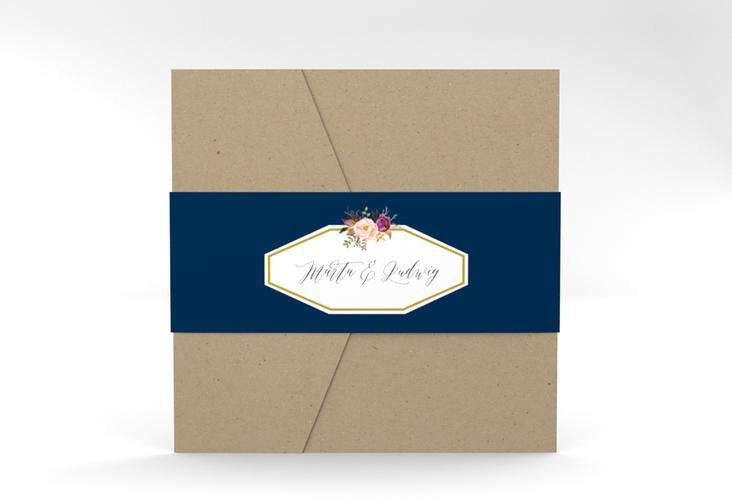"""Hochzeitseinladung """"Prachtvoll"""" Pocketfold blau"""