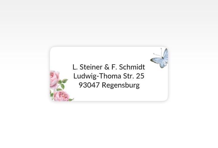 """Absenderetikett Hochzeit """"Primavera"""" 45,7 x 21,2 mm weiss"""