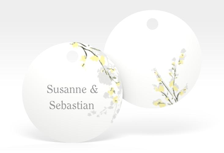 """Geschenkanhänger Hochzeit """"Salerno"""" Geschenkanhänger, rund gelb"""