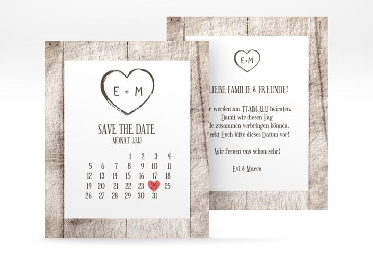 """Save the Date-Kalenderblatt """"Wood"""" Kalenderblatt-Karte weiss"""