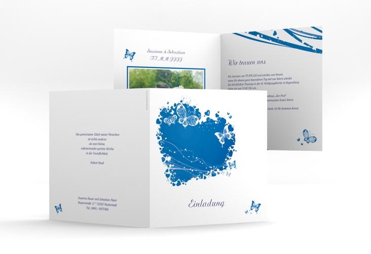 """Hochzeitseinladung """"Mailand"""" Quadratische Klappkarte blau"""
