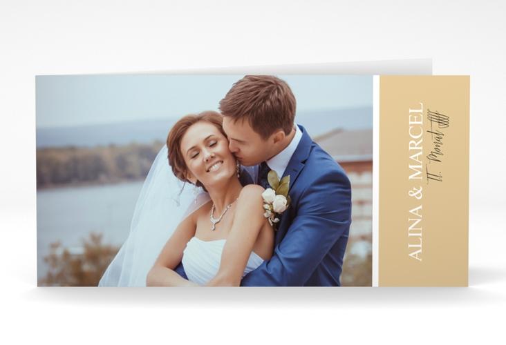 "Danksagungskarte Hochzeit ""Classic"" DIN lang Klappkarte beige"