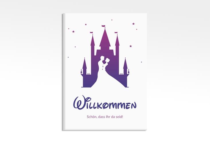 "Willkommensschild Leinwand ""Castle"" 50 x 70 cm Leinwand lila"