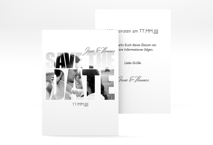 """Save the Date-Visitenkarte """"Letters"""" Visitenkarte weiss"""