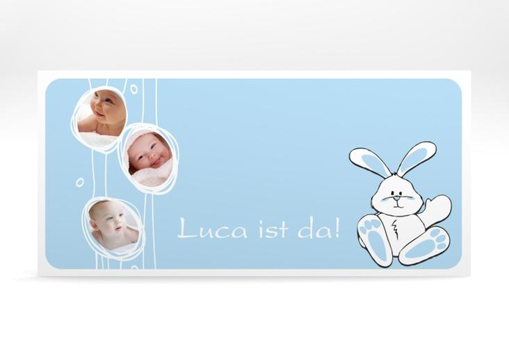 """Geburtskarte """"Hase"""" DIN lang blau"""