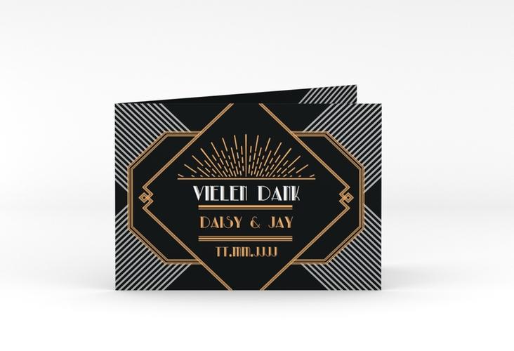 """Danksagungskarte Hochzeit """"Gatsby"""" A6 Klappkarte Quer"""