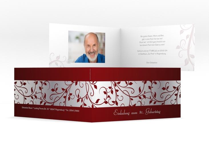 "Einladungskarte ""Hermann/Hermine"" DIN lang Klappkarte rot"