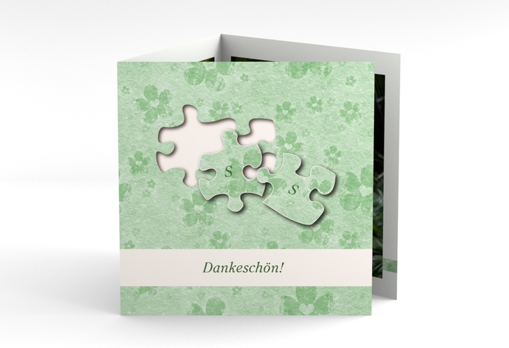 "Dankeskarte Hochzeit ""Ravensburg"" Quadr. Karte doppelt gruen"