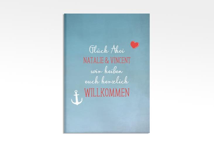 """Willkommensschild Leinwand """"Ehehafen"""" 50 x 70 cm Leinwand blau"""