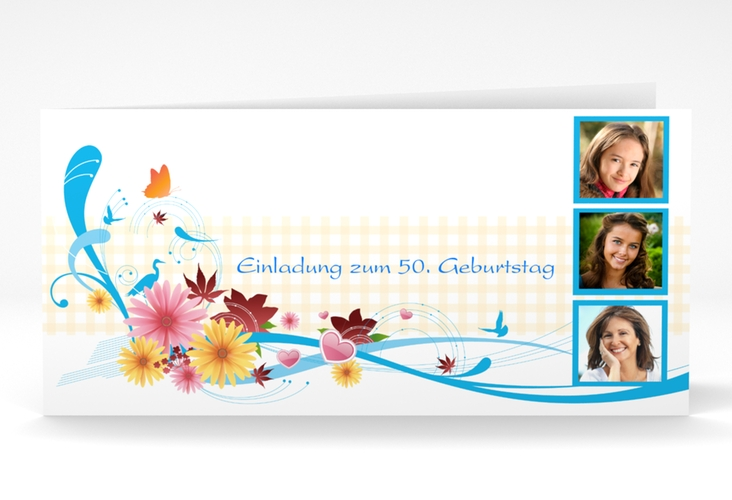 "Einladungskarte ""Elisabeth"" DIN lang Klappkarte blau"