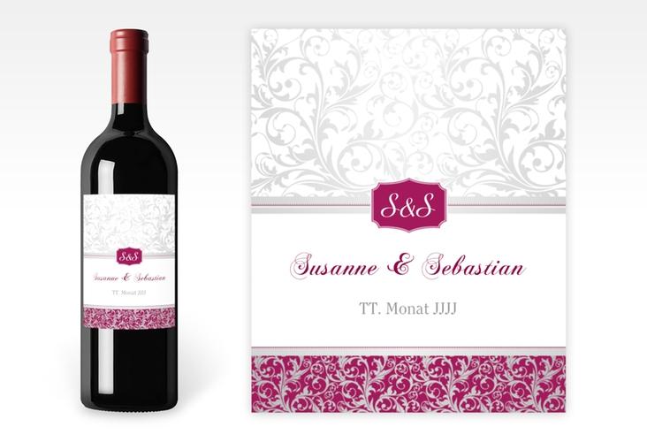"""Weinflaschenetikett Hochzeit """"Latina"""" Etikett Weinflasche 4er Set pink"""