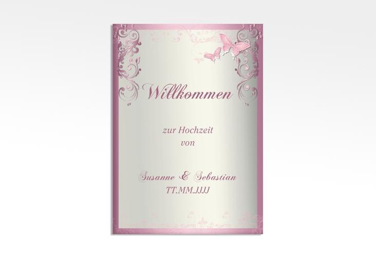 "Willkommensschild Leinwand ""Toulouse"" 50 x 70 cm Leinwand rosa"