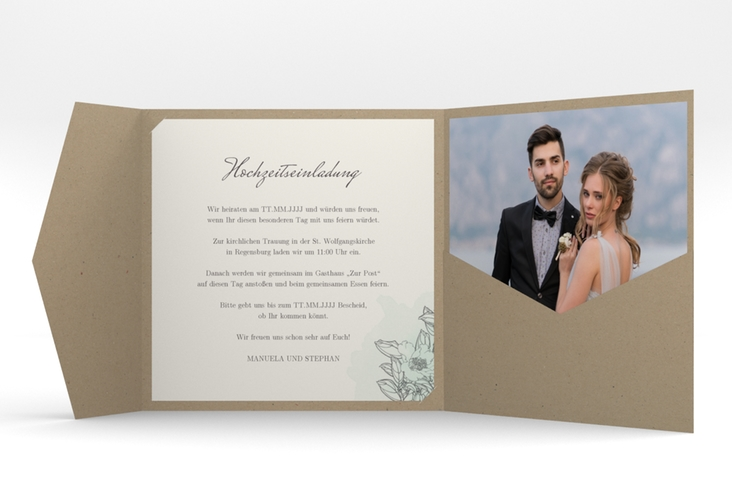 """Hochzeitseinladung """"Artlover"""" Pocketfold mint"""