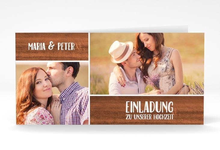 """Hochzeitseinladung """"Landliebe"""" DIN lang Klappkarte braun"""