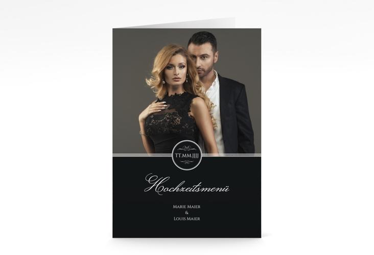 """Menükarte Hochzeit """"Elegancy"""" DIN A5 geklappt schwarz"""