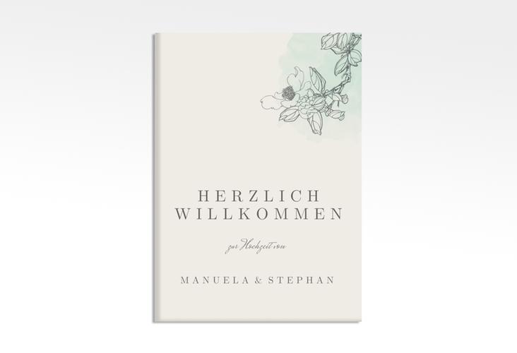 """Willkommensschild Hochzeit """"Artlover"""" 50 x 70 cm Leinwand mint"""