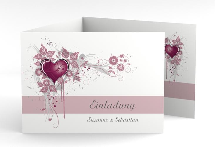 """Hochzeitseinladung """"Triest"""" A6 doppelt geklappt pink"""