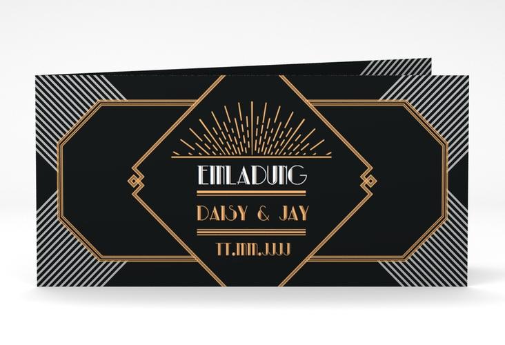 """Hochzeitseinladung """"Gatsby"""" DIN lang Klappkarte schwarz"""