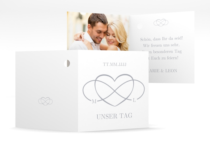 "Geschenkanhänger Hochzeit ""Infinity"" Geschenkanhänger 10er Set grau"