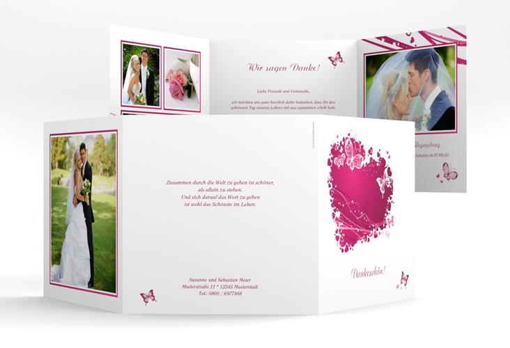 "Danksagungskarte Hochzeit ""Mailand"" Quadr. Karte doppelt pink"