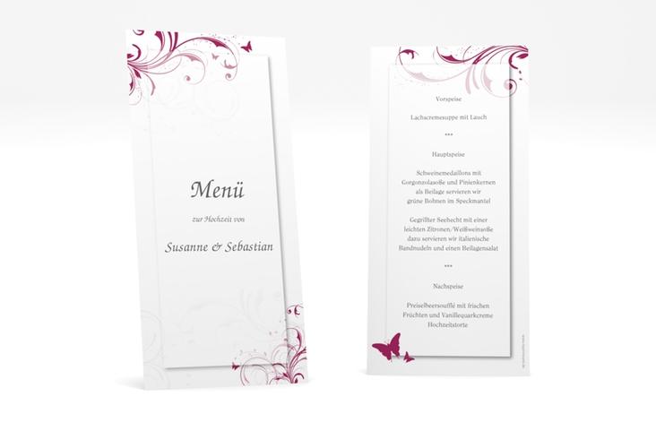 """Menükarte Hochzeit """"Palma"""" DIN lang hoch pink"""