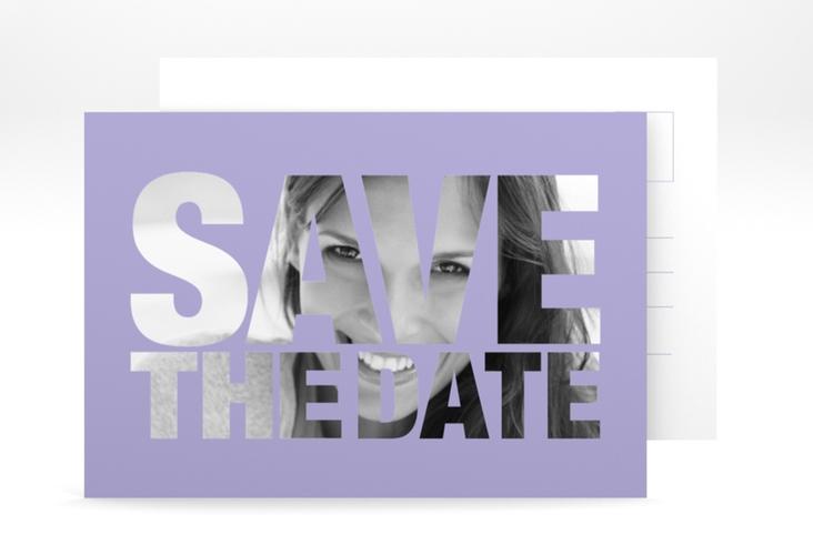 "Save the Date-Postkarte ""Numbers"" A6 Postkarte flieder"