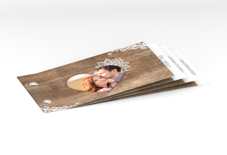 """Hochzeitseinladung """"Spitze"""" Booklet braun"""