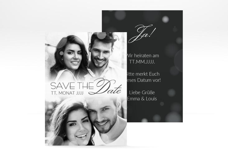 "Save the Date-Visitenkarte ""Bokeh"" Visitenkarte weiss"