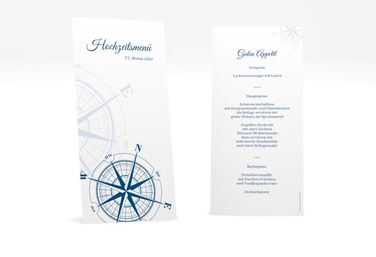 """Menükarte Hochzeit """"Windrose"""" DIN lang hoch blau"""