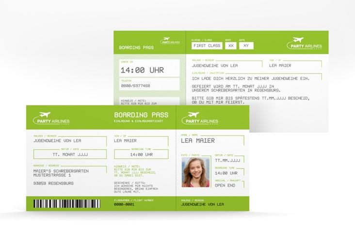 "Einladung Jugendweihe ""Ticket"" DIN lang gruen"