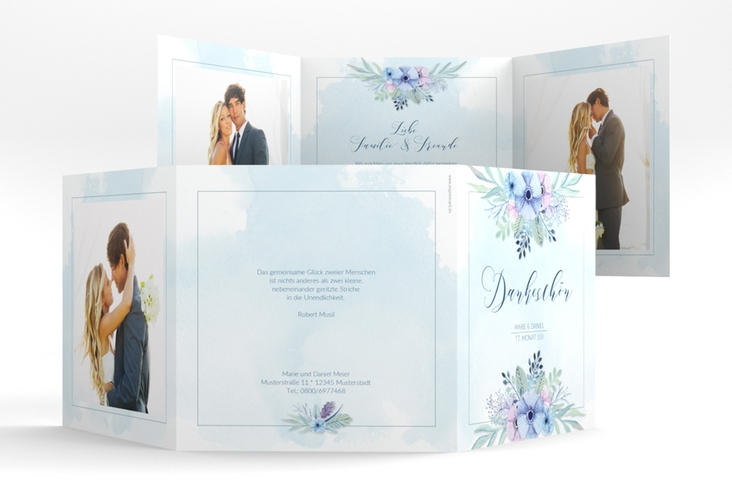 "Dankeskarte Hochzeit ""Surfinia"" Quadr. Karte doppelt blau"
