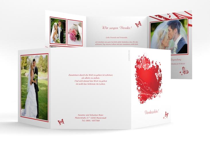 "Danksagungskarte Hochzeit ""Mailand"" Quadr. Karte doppelt rot"