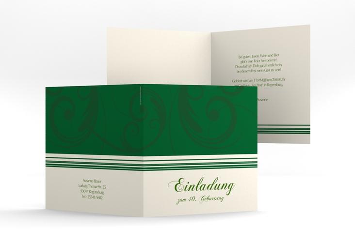 """Einladungskarte """"Katharina"""" Quadratische Klappkarte gruen"""