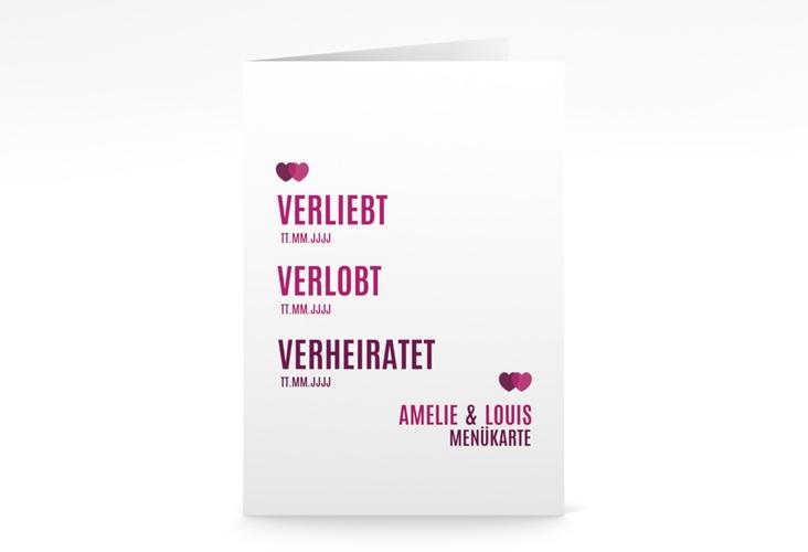 """Menükarte Hochzeit """"Couple"""" DIN A5 geklappt pink"""
